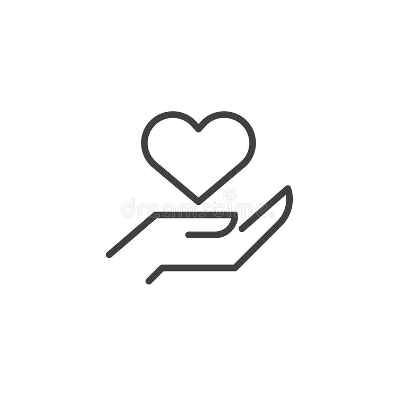 Heart In Hand Outline Icon Stock Vector Illustration Of Heart