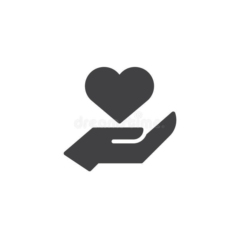 Heart In Hand Vector Icon Stock Vector Illustration Of Pixel