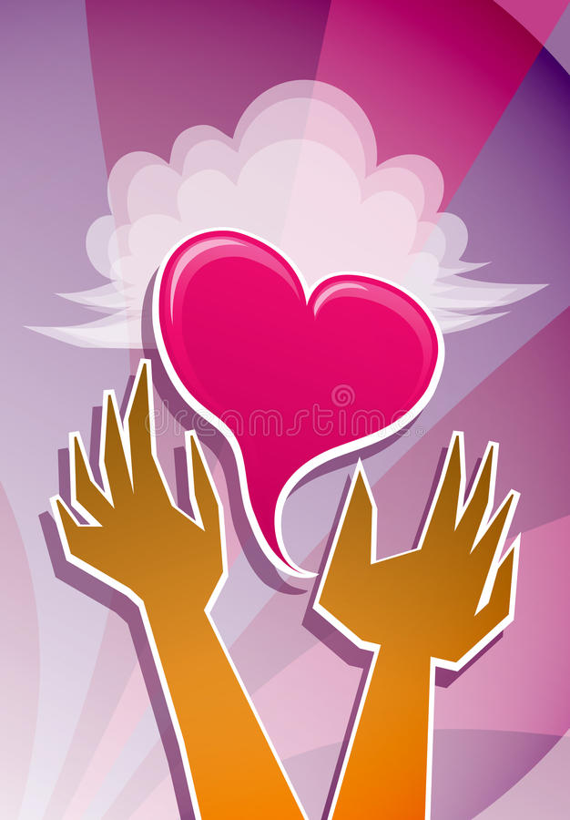 Heart in Hands. A happy symbol of love, hands cradle a heart. Use this fun, versatile design element for Christian events or Valentine's Day in both modern and stock illustration