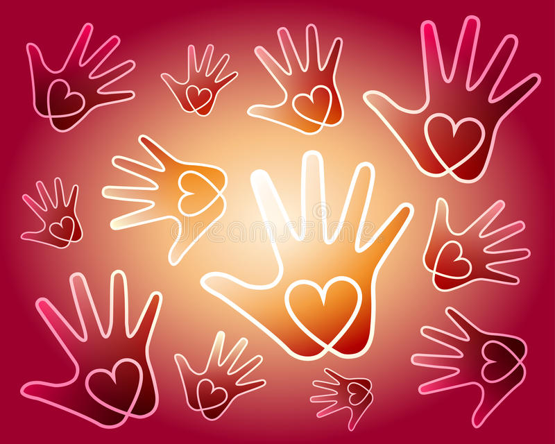 Heart hands background. Vector heart in hand symbols on red sand background. Ideal for illustration about love, Valentine's day, Mother's day, wedding, for vector illustration