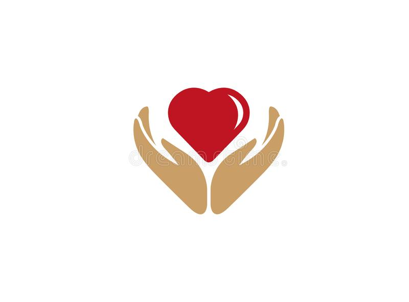 Heart between hands care human health and nature for logo design stock illustration