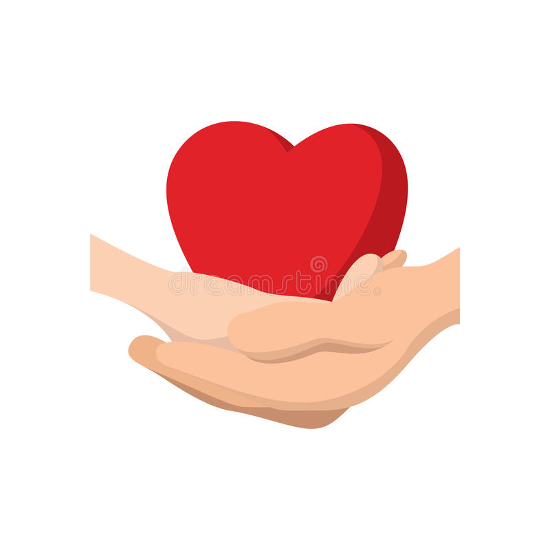 Heart in hands cartoon icon stock illustration