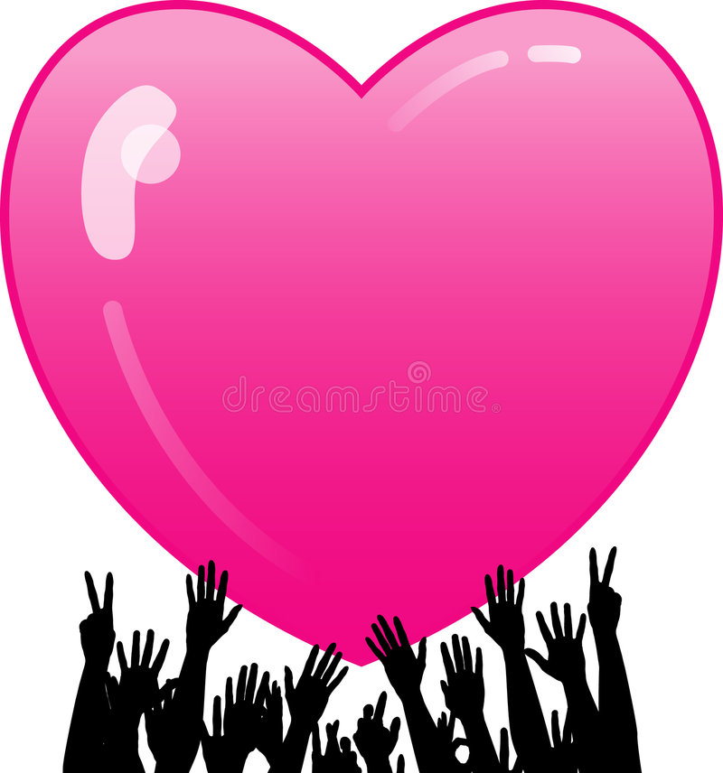 Heart and hands design stock illustration
