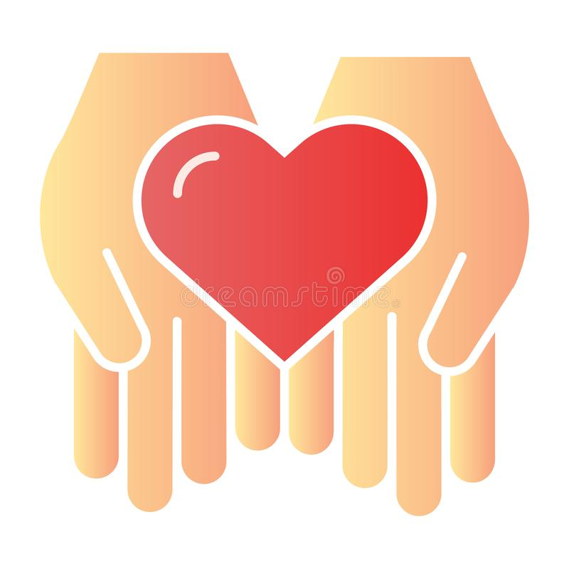 Heart in hands flat icon. Love in arms color icons in trendy flat style. Care gradient style design, designed for web. And app. Eps 10 vector illustration