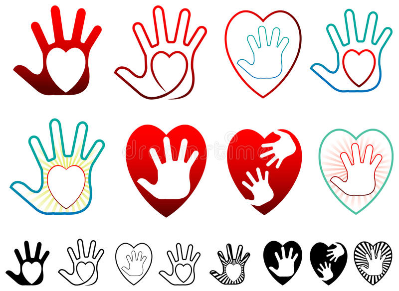 Heart and hands royalty free illustration