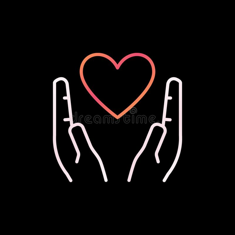Heart in Hands outline colorful icon. Vector Love linear symbol stock illustration