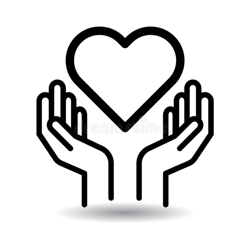 Heart in hands icon. Heart in hands web icon - vector illustration on isolated white background royalty free illustration