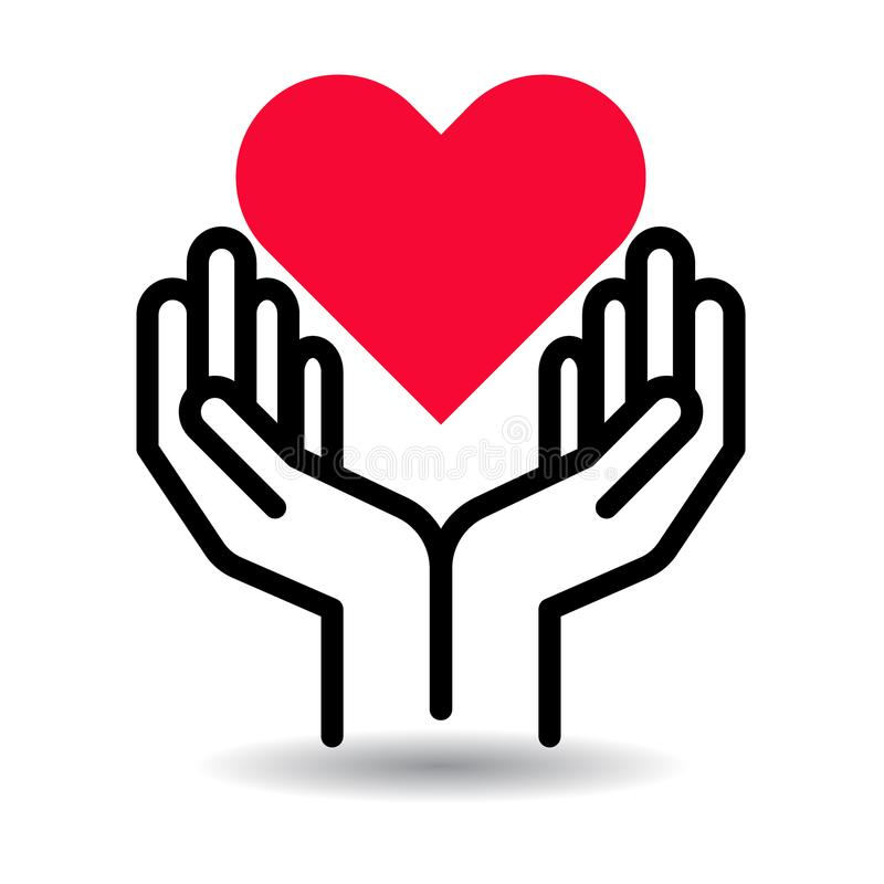 Red heart in hands icon stock illustration