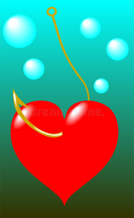 Heart have caught on a hook. A vector illustration royalty free illustration