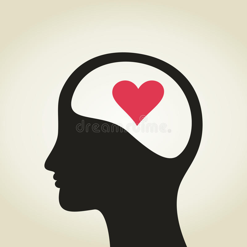 Heart in a head royalty free illustration