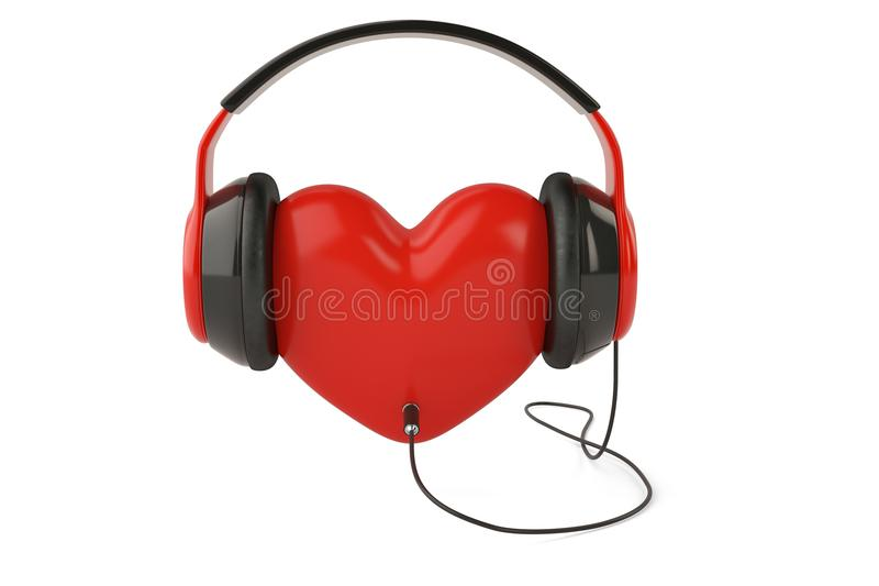 Heart and headset creative concept 3d illustration. vector illustration