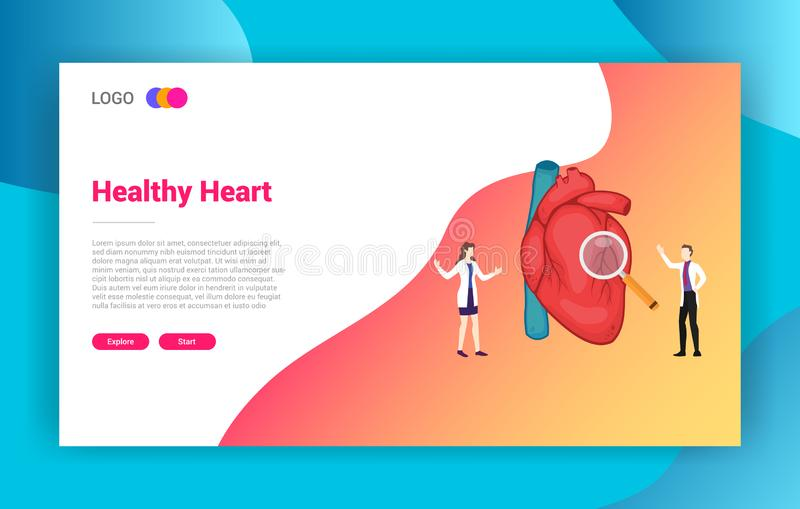 Heart health doctor treatment concept for website design landing page template -. Illustration stock illustration