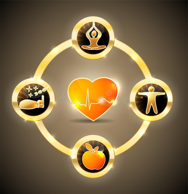 Heart health wheel royalty free illustration