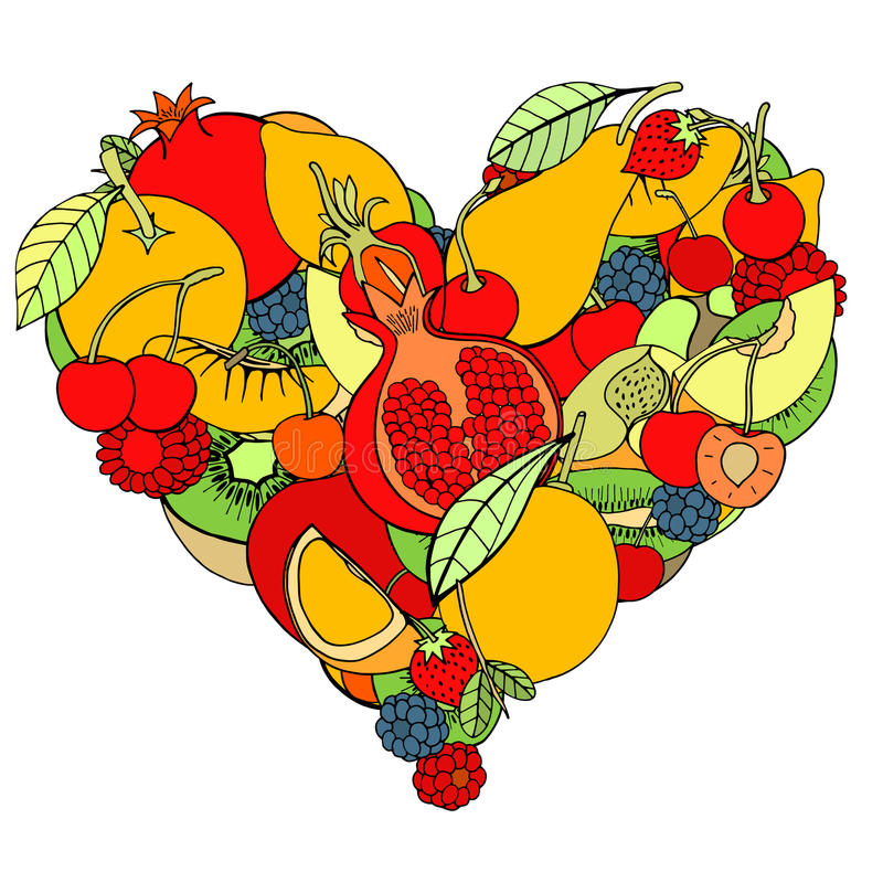 Heart from healthy fruit and berry. Isolated on white stock illustration