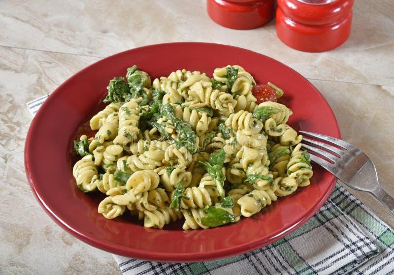 Heart Healthy Pasta Salad. Delicious, low fat pasta salad with arugula stock photos