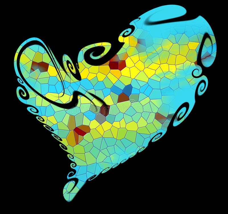 Heart. heart and shapes on black background royalty free stock photo