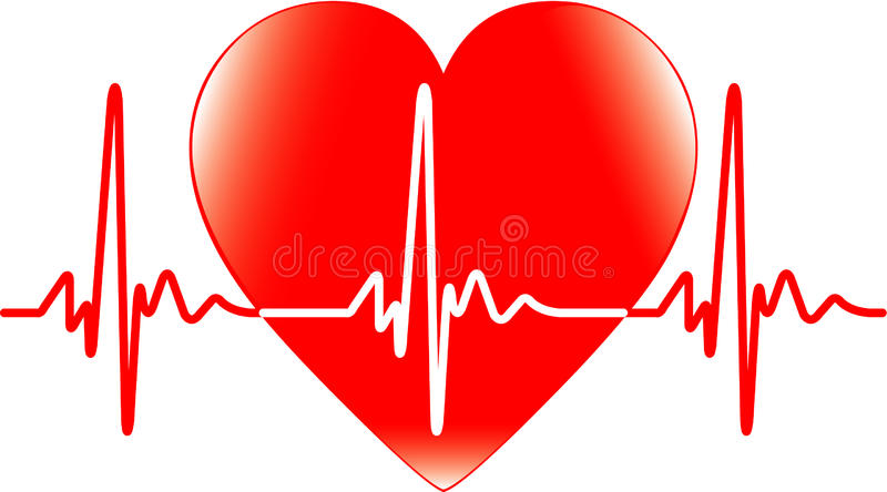 Heart and heartbeat. Background with heart and heartbeat symbol stock illustration