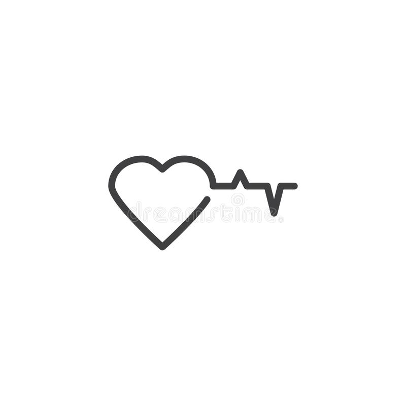 Heart and heartbeat line icon. Linear style sign for mobile concept and web design. Heart beat cardiogram outline vector icon. Cardiology symbol, logo stock illustration