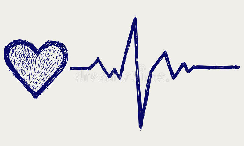Heart and heartbeat symbol. Doodle style. Vector vector illustration