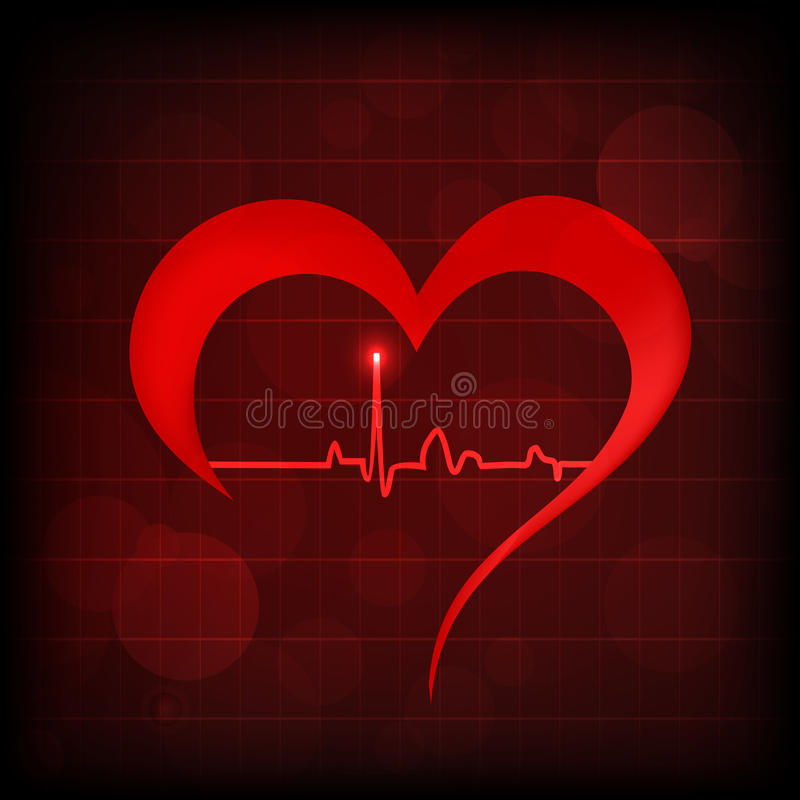 Heart and heartbeat symbol royalty free illustration