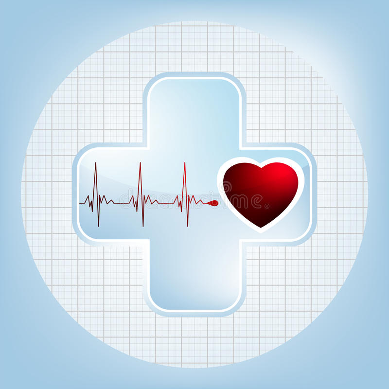 Heart and heartbeat symbol. EPS 8 royalty free illustration
