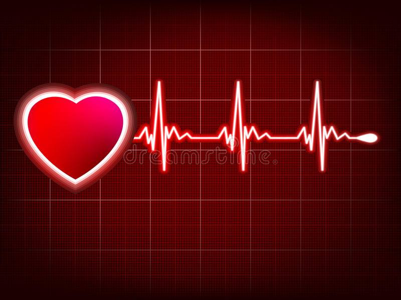 Heart and heartbeat symbol on monitor. EPS 8 stock illustration