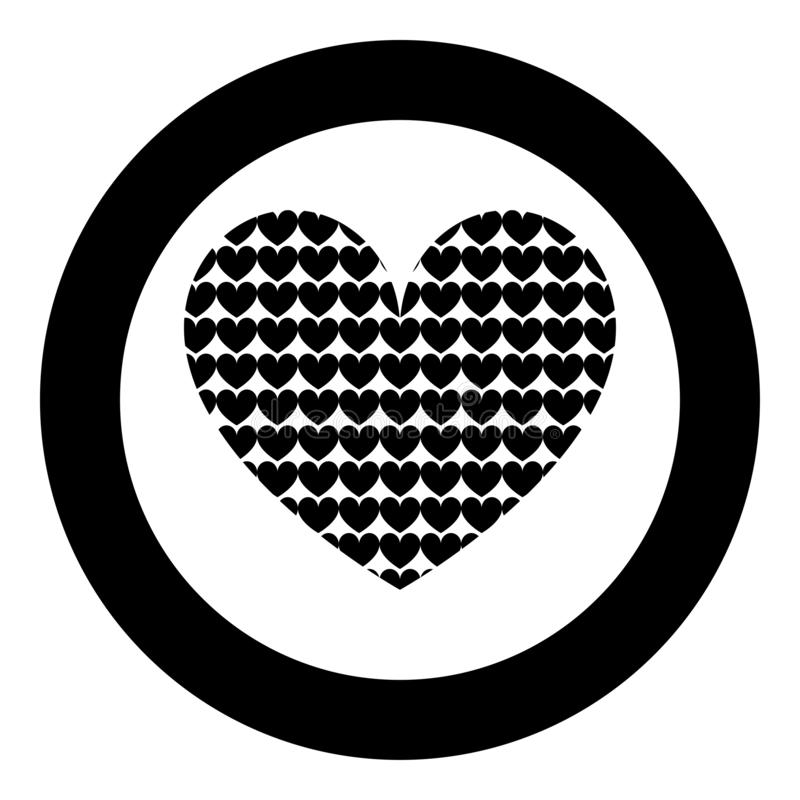 Heart with hearts inside Heart pattern in heart icon in circle round black color vector illustration flat style image vector illustration