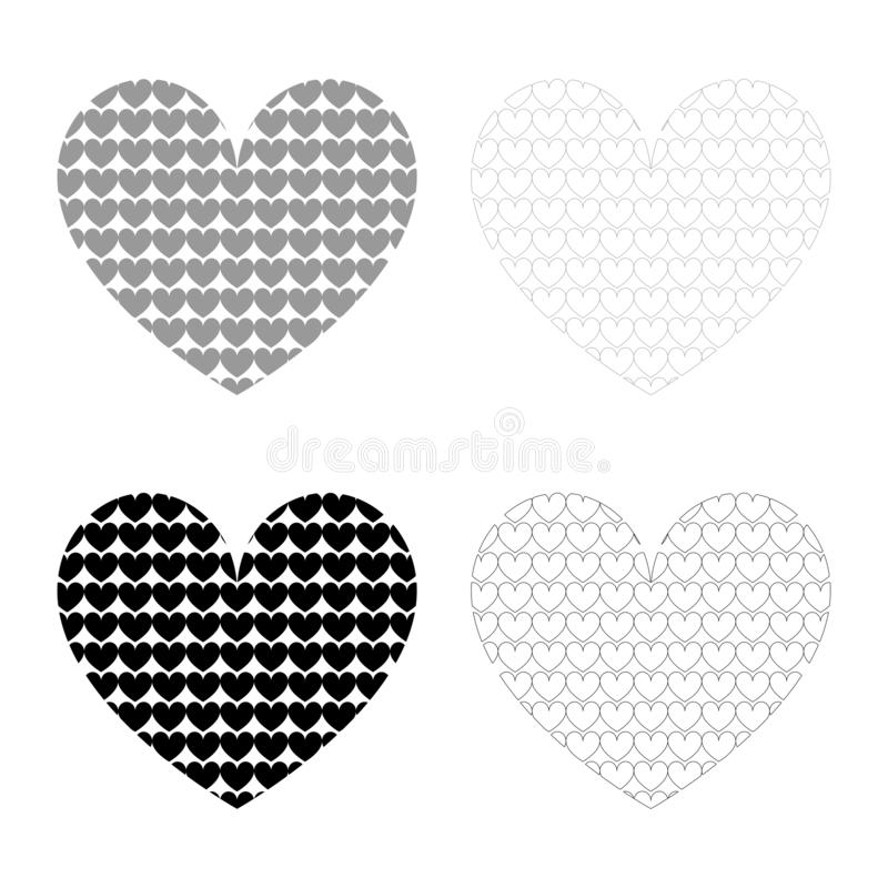 Heart with hearts inside Heart pattern in heart icon set black color vector illustration flat style image stock illustration