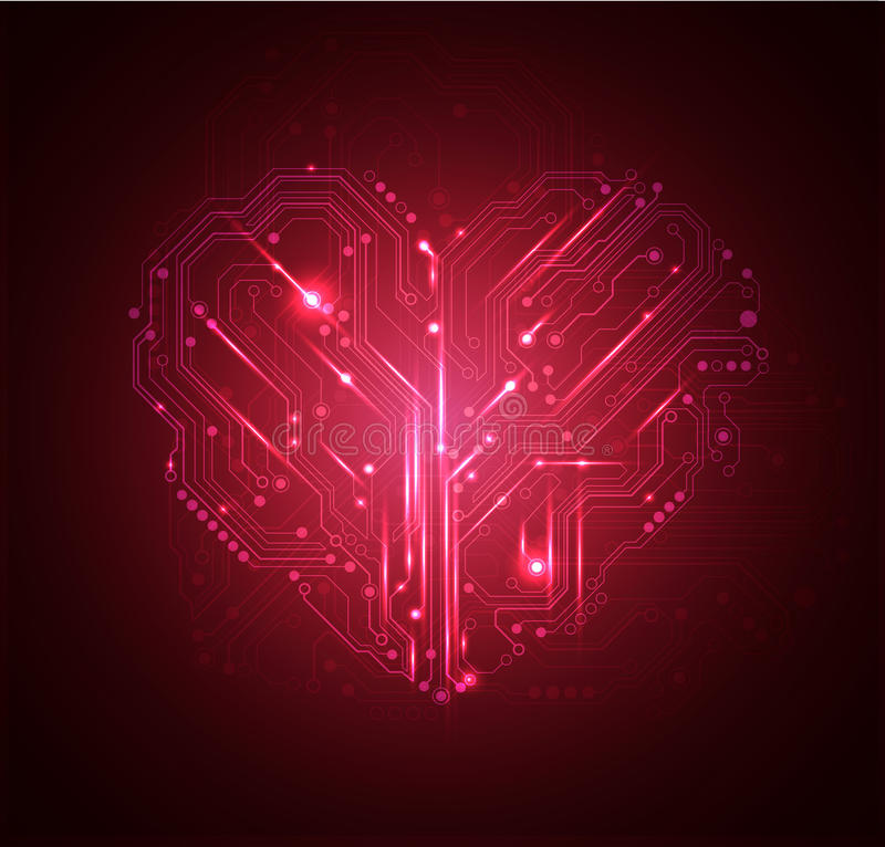 Heart high tech background vector illustration
