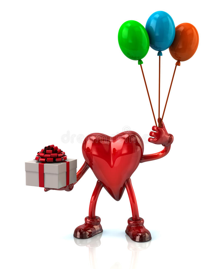 Heart holding gift box and colorful balloons stock illustration