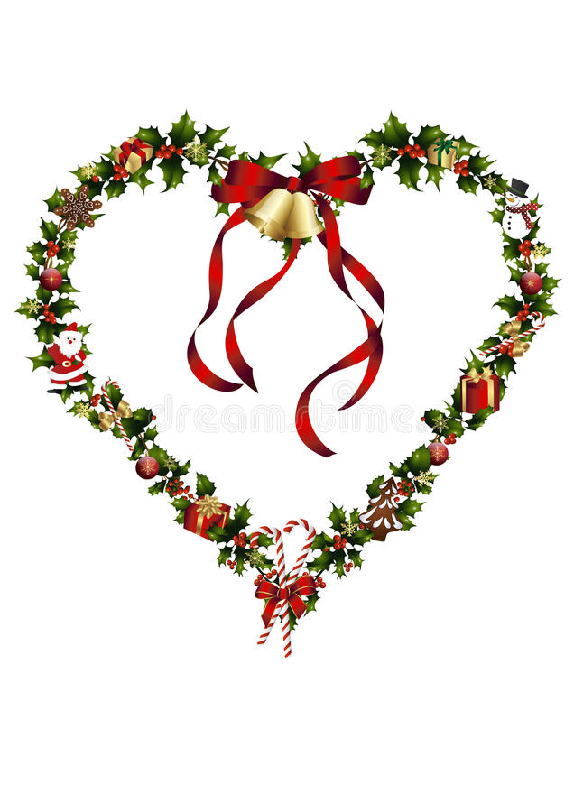 A heart of holly with christmas decoration stock photography