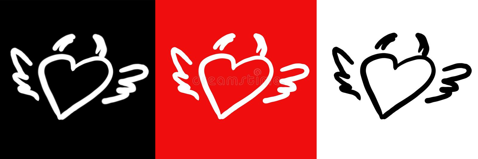 Download Heart-horns-wings stock illustration. Image of relations - 13250355