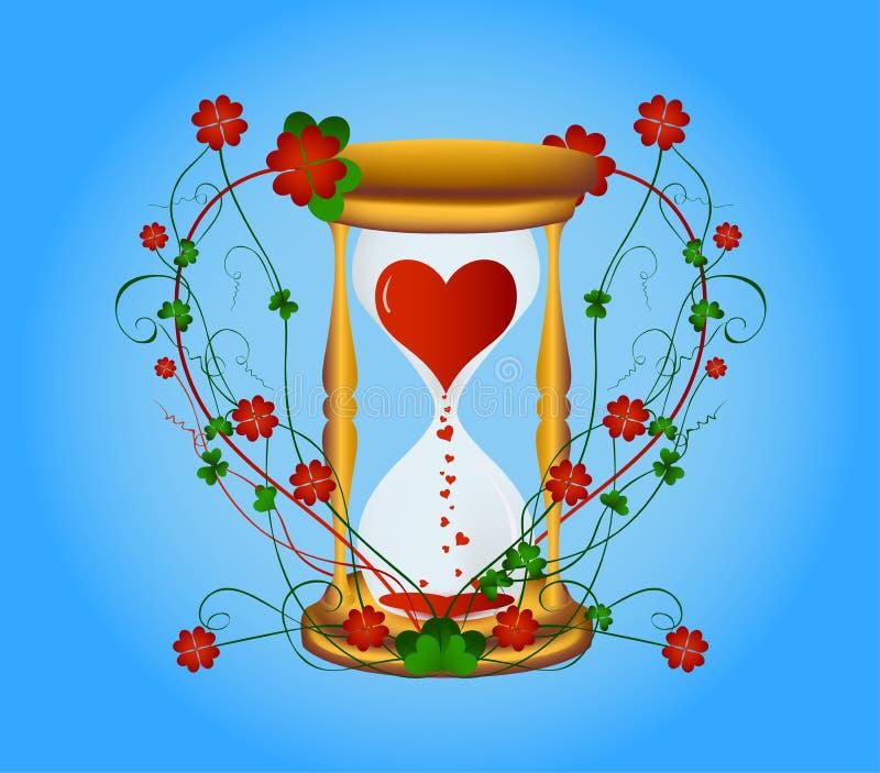 Heart in hourglass vector illustration