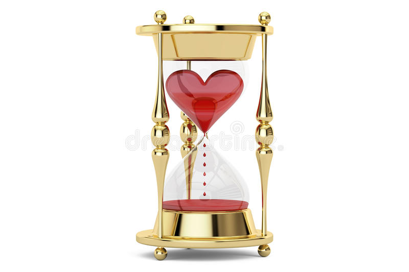 Heart in hourglass, 3D rendering. Earth in hourglass closeup, ecological concept. 3D rendering on white background stock illustration