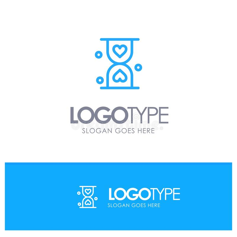 Heart, Hourglass, Glass, Hour, Waiting Blue Outline Logo Place for Tagline vector illustration