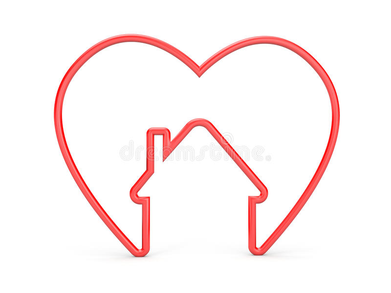 Heart with house shape stock illustration