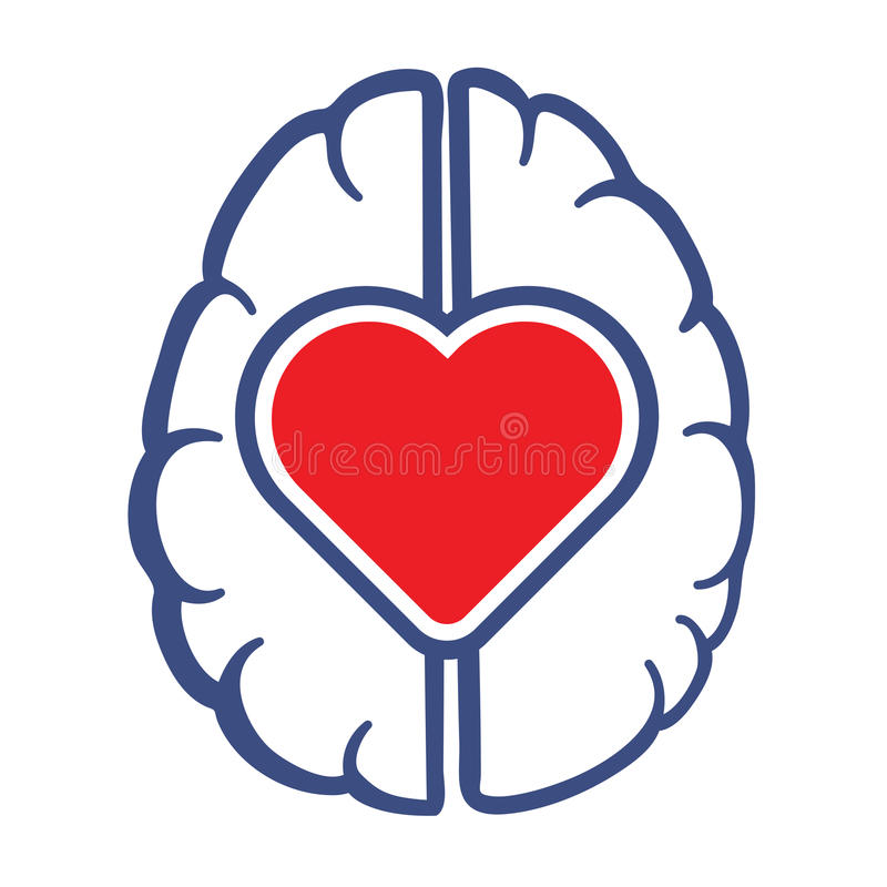 Heart and Human Brain symbol. As love lives in human head concept vector illustration royalty free illustration