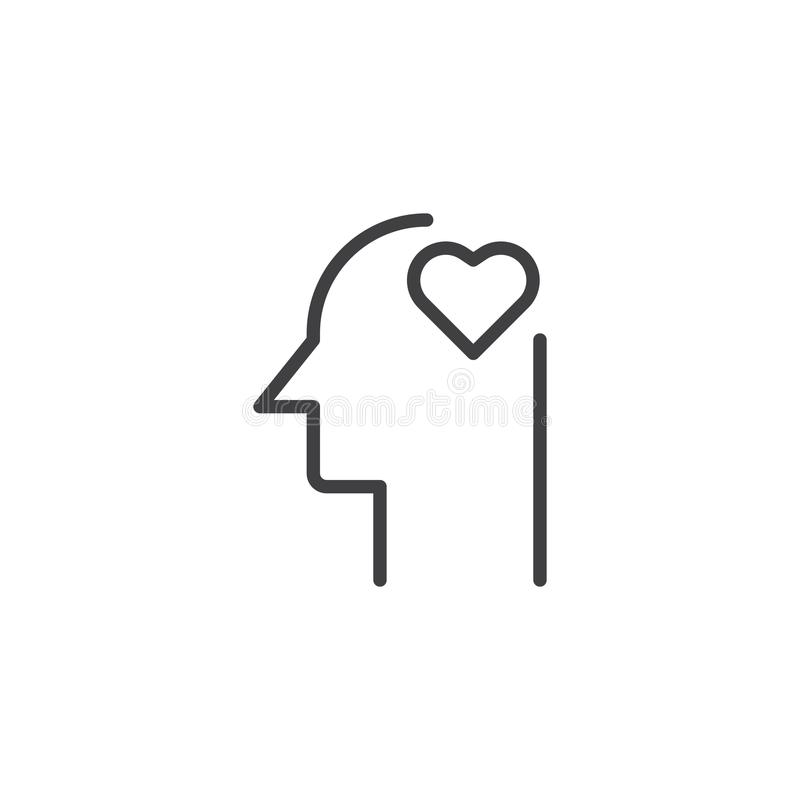 Heart in human head outline icon. Linear style sign for mobile concept and web design. Love head simple line vector icon. Symbol, logo illustration. Pixel vector illustration