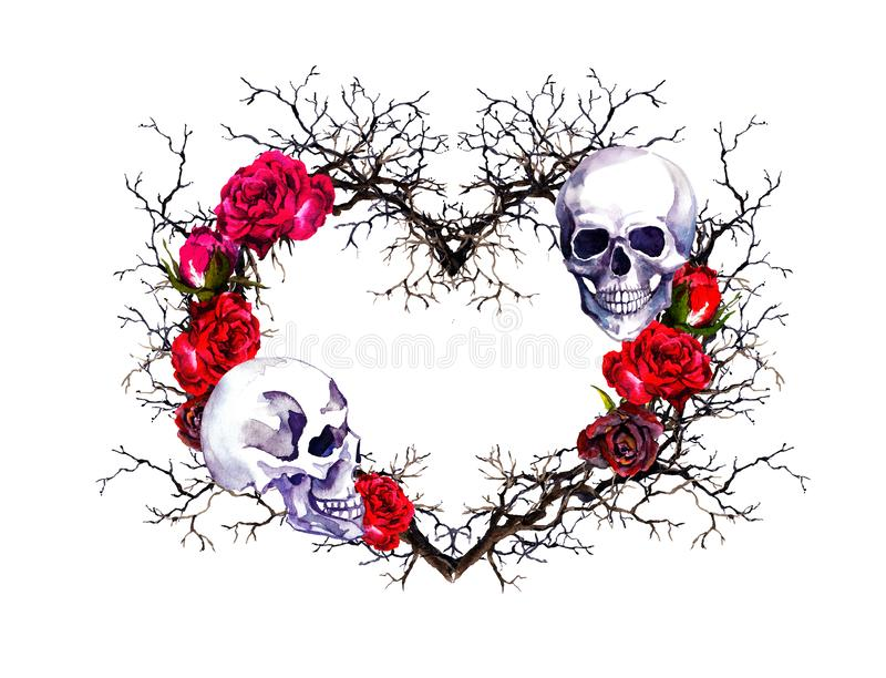 Heart with human skull. Branches, red rose flowers. Watercolor for Halloween vector illustration