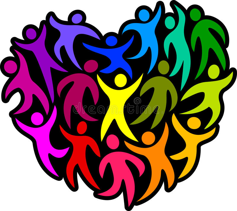 Heart of Humanity/eps. Abstract people in a heart shape of rainbow colors...representing diversity in a joyful dance