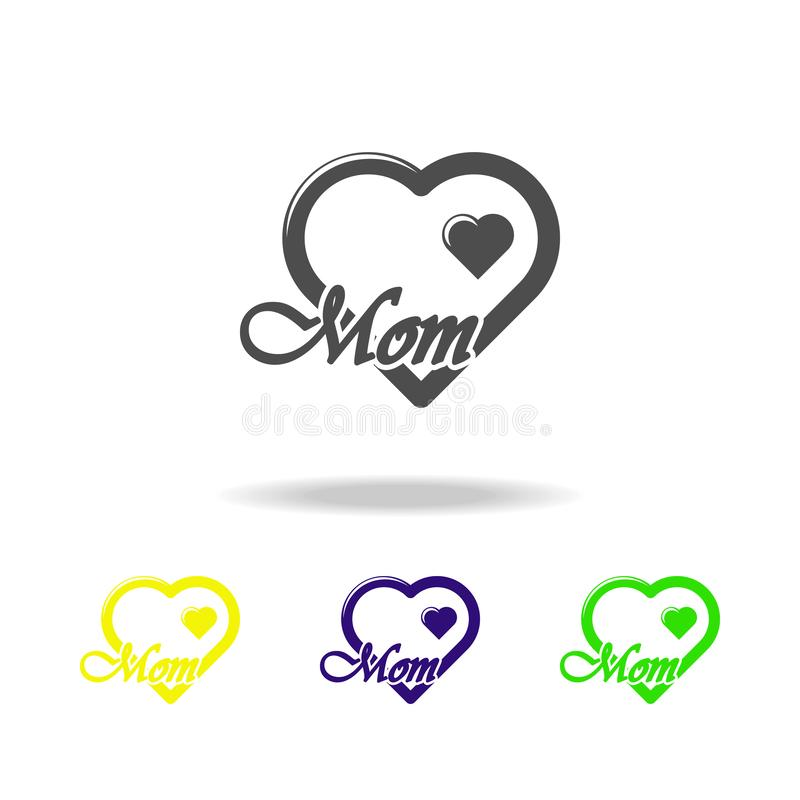 heart i love you mom multicolored icons. Element of mothers day icon. Signs and symbols collection icon for websites, web design, royalty free illustration