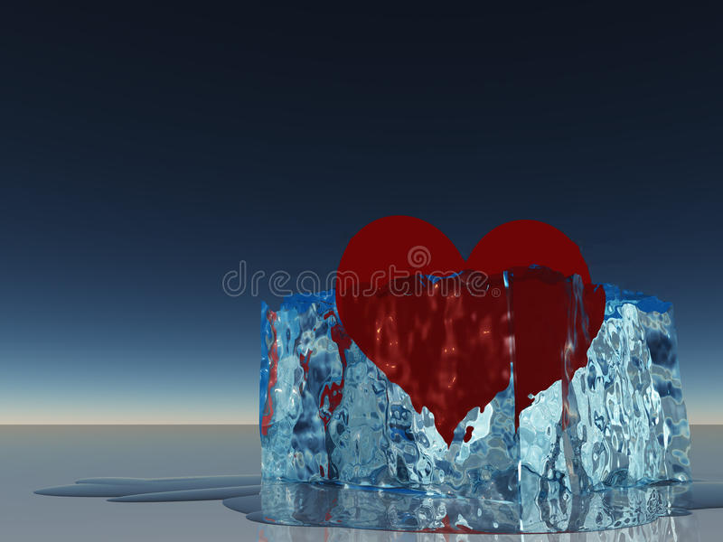 Heart in ice melting. Red Heart in ice melting vector illustration