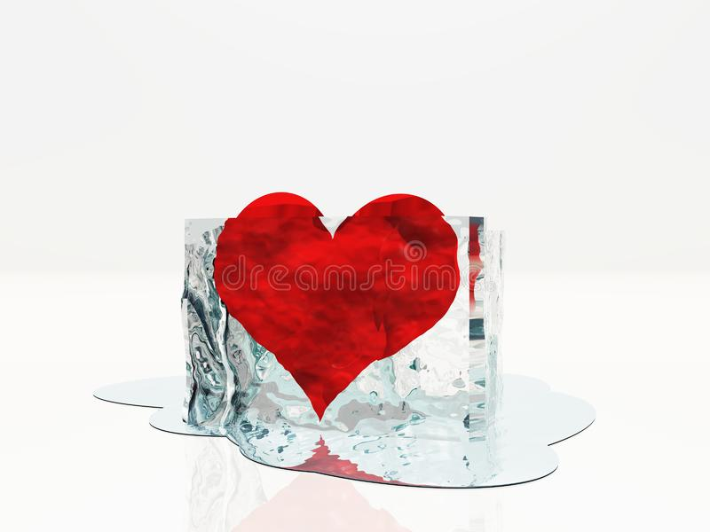Heart in ice melting. This image created in entirety by me and is entirely owned by me and is entirely legal for me to sell and distribute stock illustration