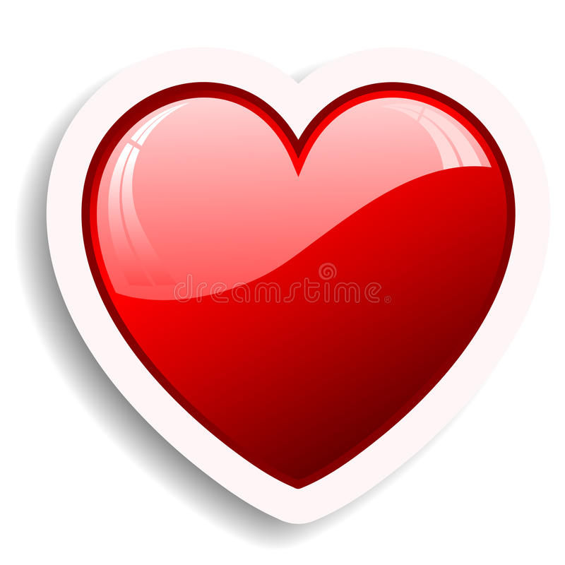 Heart icon. Glossy red heart icon with drop shadow vector illustration