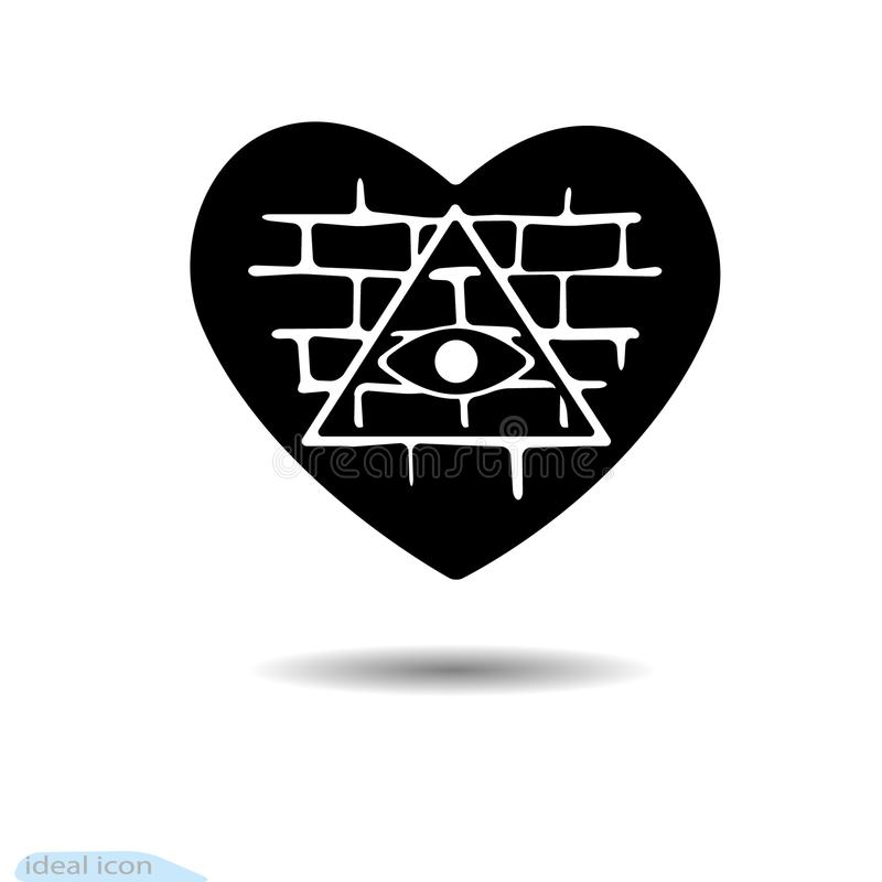 Heart Icon All Seeing Eye A Symbol Of Love Valentine S Day Brick