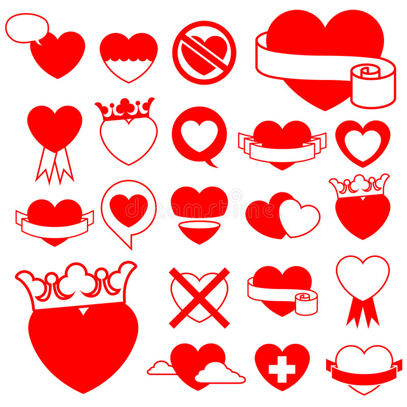 Heart icon collection - design elements. Heart icon/illustration collection - design elements stock illustration