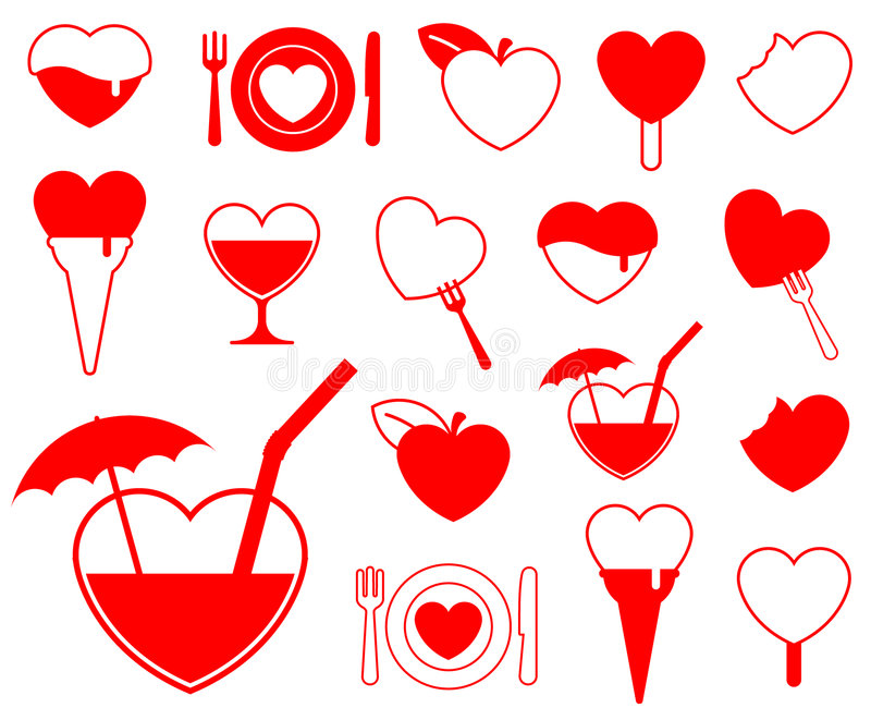 Heart icon collection - food/b vector illustration