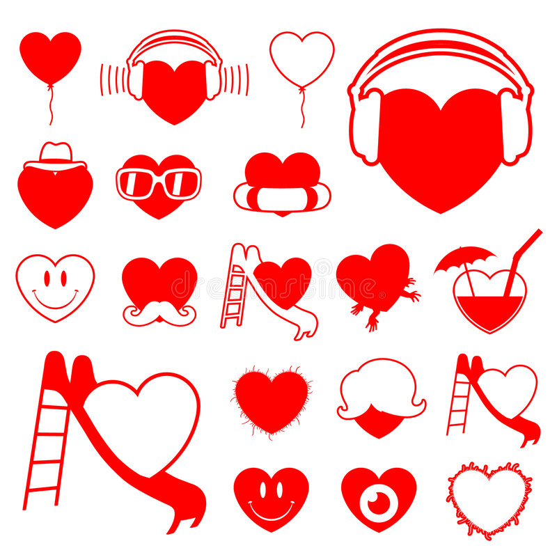 Heart icon collection - fun stock illustration
