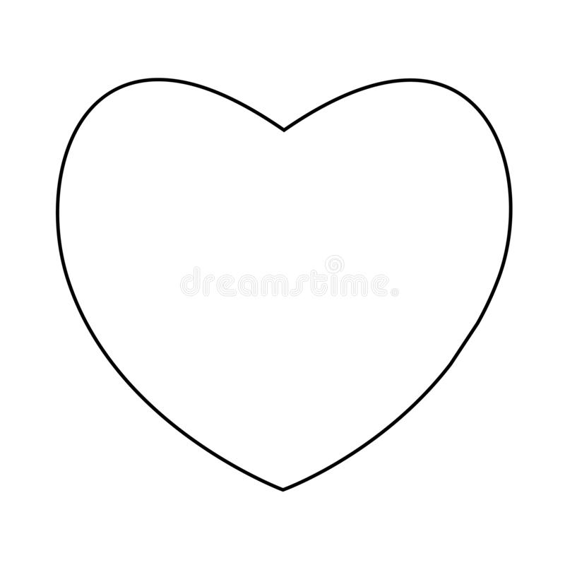Heart icon, concept of love, linear icon thin grey line stock illustration