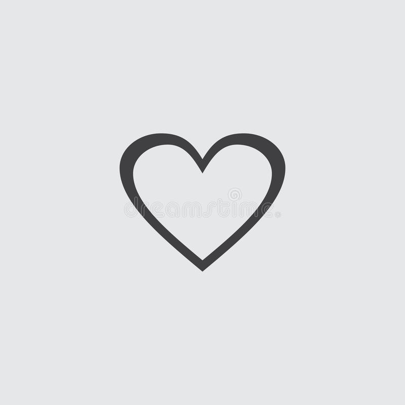 Heart Icon in a flat design in black color. Vector illustration eps10 royalty free illustration
